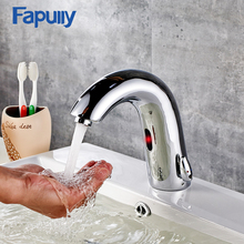 Fapully Automatic Sensor Faucets Hot And Cold Bathroom Sink Basin Mixer Hands Touch Tap Chrome Bathroom Faucet automatic hand touch tap cold wate free sensor faucet bathroom sink