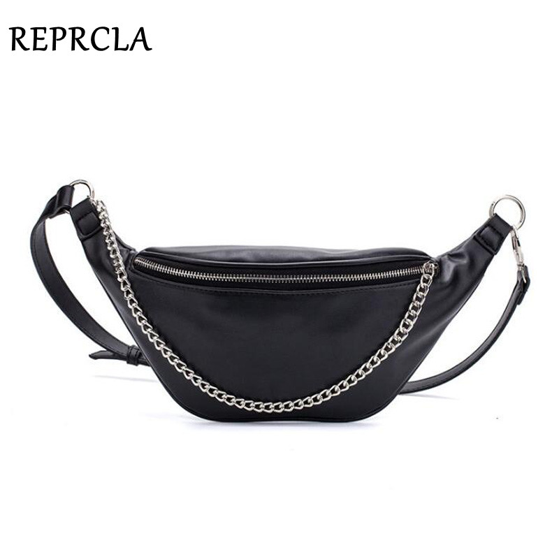 REPRCLA New Fanny Pack Fashion Waist Bag High Quality PU Leather Belt Chest Bag With Chain Women Shoulder Bags