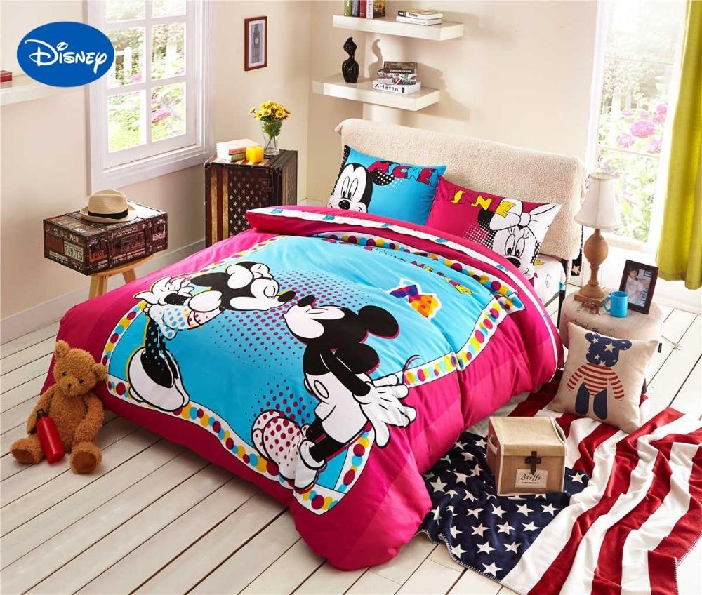 Cartoon Disney Prints Bedding Set Cotton Polka Dot Kiss Mickey Minnie Mouse Bedclothes Duvet