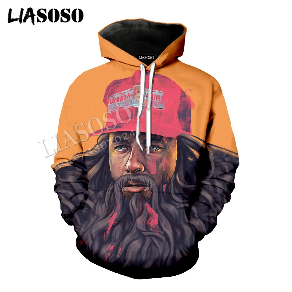 LIASOSO latest 3D printing comfortable polyester sportswear set classic famous movie Forrest Gump men women tees hoodie CX817
