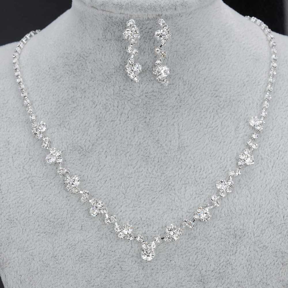 Fashion Silver Tone Crystal Tennis Choker Necklace Set Earrings Factory Price Wedding Bridal Bridesmaid African Jewelry Sets 4