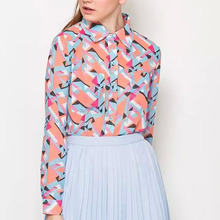 Nice Spring Summer Blouses Women Chiffon Shirts Print Blouse Long Sleeve Lapel Shirt Tops Elegant Slim Women Blouse GB8085