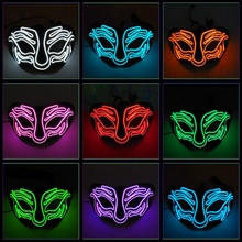 EL Wire Light Up Mask Halloween Upper Half Face Covered Festival Cosplay Costume Accessories