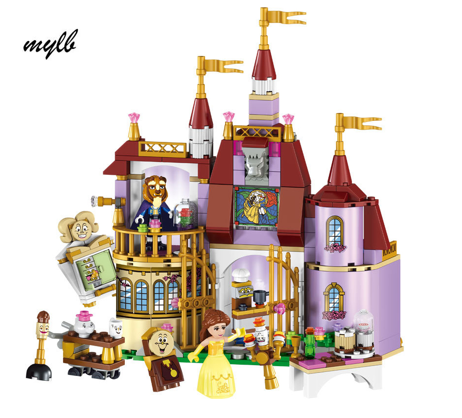 Shop1993077 Store mylb Beauty and The Beast Princess Belle's Enchanted Castle Building Blocks Girl Friends Kids Toys Compatible