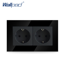 Wallpad Luxury Double 16A EU Socket Black Crystal Glass Electrical Double 16A European Wall Socket Outlet, Free Shipping