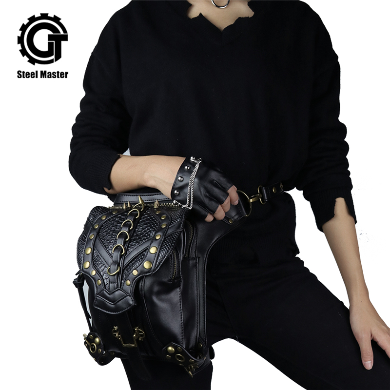 Steampunk Retro Rock vidukļa soma Sieviešu Messenger plecu somas Gothic PU ādas tālruņa soma dāmas modes gotikas soma Pack 2019