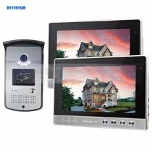 DIYSECUR 10 inch Wired Video Door Phone Doorbell Home Security Intercom System RFID Camera Night Vision 1 Camera 2 monitors