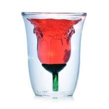 Kreative doppelwandige glas rose tasse wein personalisierte gläser whisky becher fincan hause transparent entsafter cup tee 180 ml