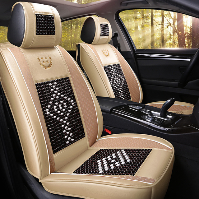 Universeal Wood Beads Car Seat Cover Leather For Toyota Corolla Ford Focus 2 Bmw E46 Peugeot