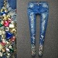 LUCKY STAR Джинсы для Женщин высокая талия Рваные джинсы Тощий Отверстие Джинсовой Карандаш Брюки Стрейч джинсы женские Алмаз Вышитые Отверстие