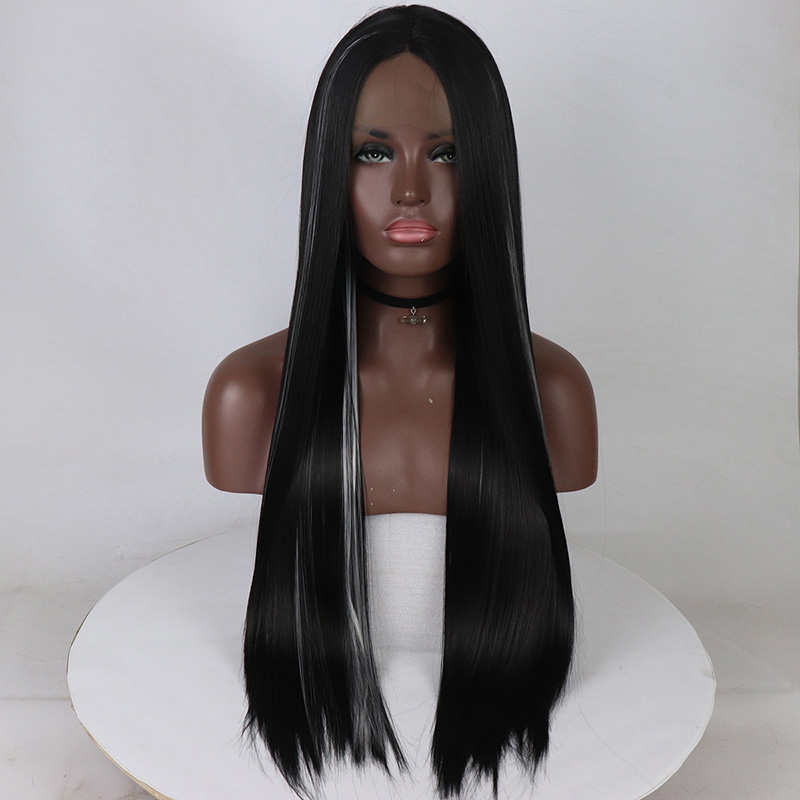 Fantasy Beauty Straight Long Black Wig Middle Part Synthetic Hair Full Wig Heat Resistant Fiber Wigs