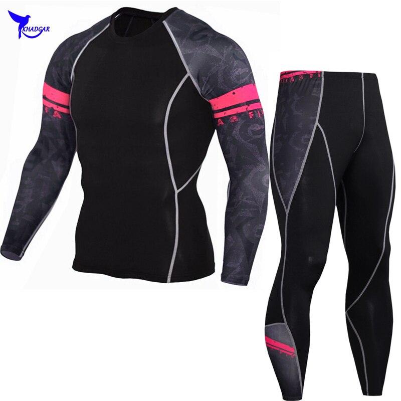 MMA Rashgard Long Sleeve Fitness Compression Set Mens Elasticity Skin Tights Quick Dry Breathable T-Shirt Printed Pants Leggings