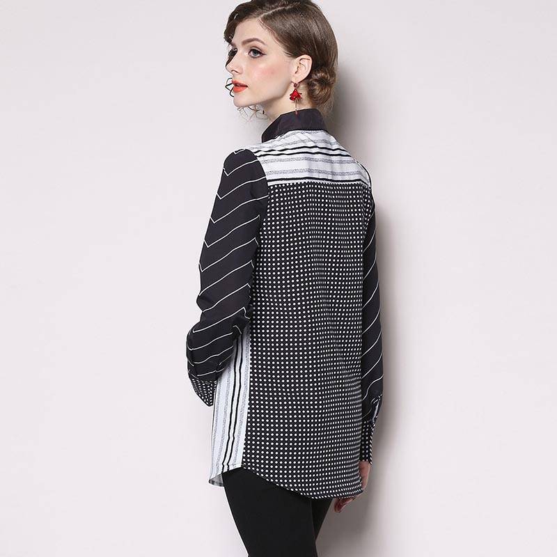 19 New Stripe Dot Womens Blouses Fashion Print White Black Long Sleeves Shirts Female Casual Office Tops