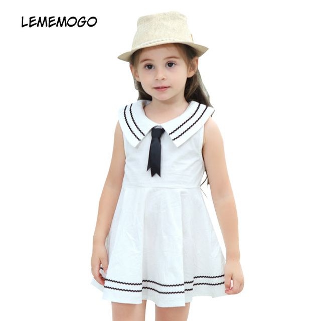 740d426dd LEMEMOGO 2018 Summer Navy style Baby Girl Dress Kids Clothes Cotton ...