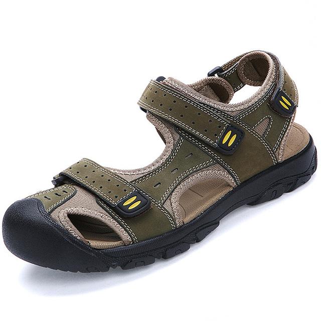 Más el Tamaño 45 46 47 Cuero Genuino Sandalias de Los Hombres Masculinos Sandalias Zapatos de la Playa de Nueva Llegada Del Verano Hombres Zapatos Hombre Sapatos RMC-663