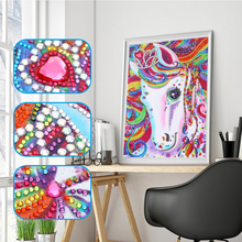 Special Shaped Diamond Painting Colorful Horse Animal 5D Partial Drill Cross Stitch Kits Crystal Rhinestone Picture Arts Craft