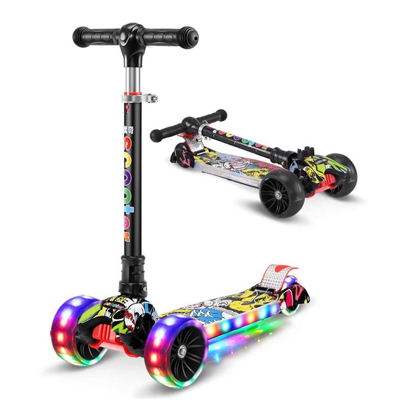 Per bambini kick scooter pieghevole In lega di Alluminio di skateboard per bambini Regolabile in Altezza Lampeggiante Luce Della Rotella Del Piede Hoverboard e Skate elettrici Giocattoli Regali - 3