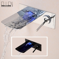 Wall Mounted Bathroom Sink Faucet LED Waterfall Bath Mixer Tap Temperature Control LED Faucet Chrome Black Finished L1010