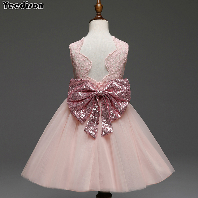 28a9a254 2019 Princess Girls Dress Sequins Bowknot Kids Birthday Party Dresses For  Baby Girls Lace Wedding Dress