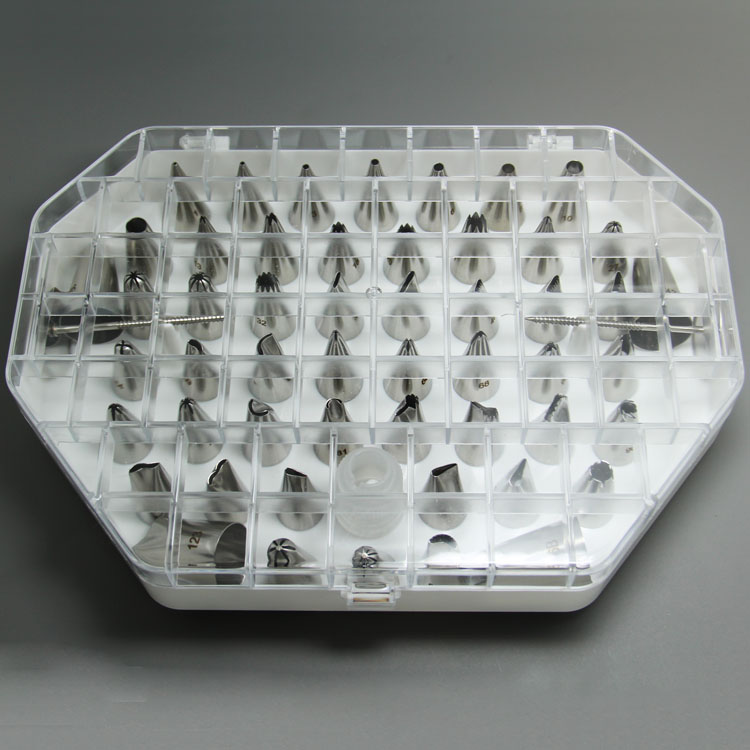 Free Shipping FDA High Quality Stainless Steel 55pcs Cake Decorating Nozzles Set in New Plastic Box in Decorating Tip Sets from Home Garden