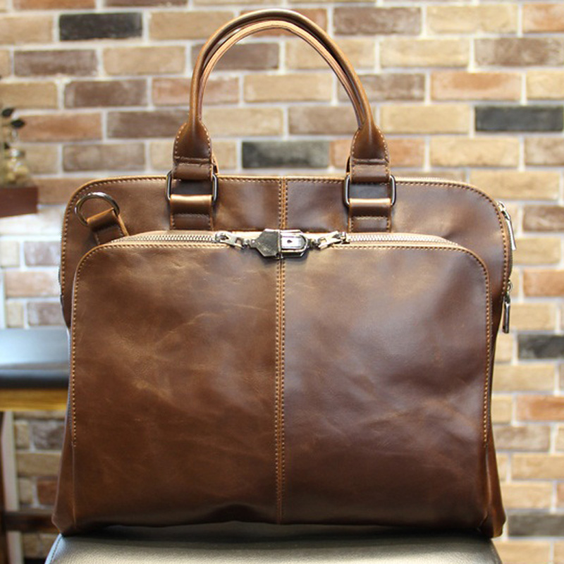 New High Quality Leather Shoulder Leisure Men's Bag Business Messenger Portable Briefcase Laptop Large Purse 14