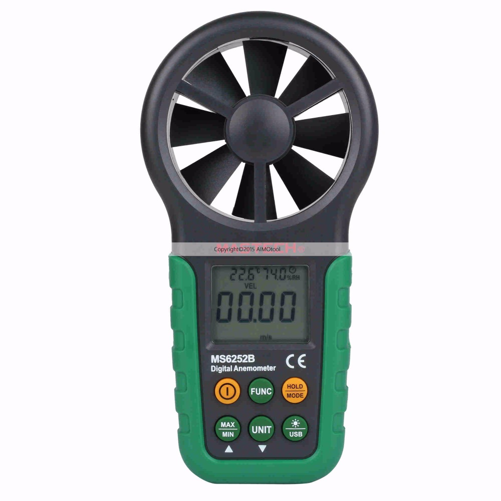 MASTECH MS6252B digital anemometer air speed velocity air flow meter with air temperature air humidity RH USB port indoor air quality pm2 5 monitor meter temperature rh humidity