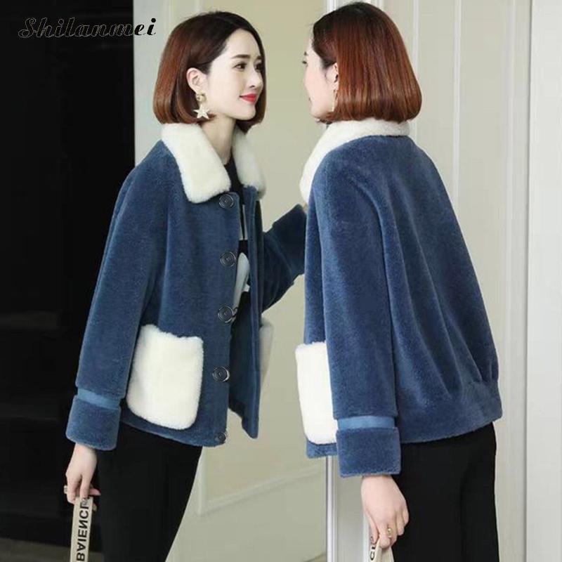 2019 корейские пальто из искусственного меха с длинными рукавами, Утепленные зимние куртки, женские лоскутные модные кардиганы с карманами и