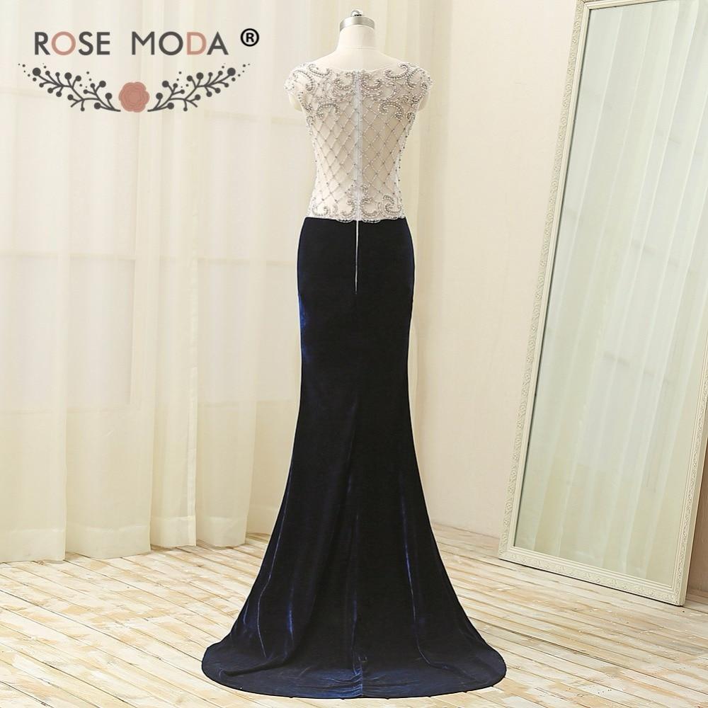 Rose Moda Navy Velvet Mermaid   Prom     Dress   Crystal Back Long   Prom     Dresses   2018 Real Photos