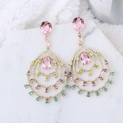 Water Drop CZ Hollow Earrings Luxury Lady`s Elegant Jewelry Wholesale XIUMEIYIZU High Quality Women`s Jewelry Export