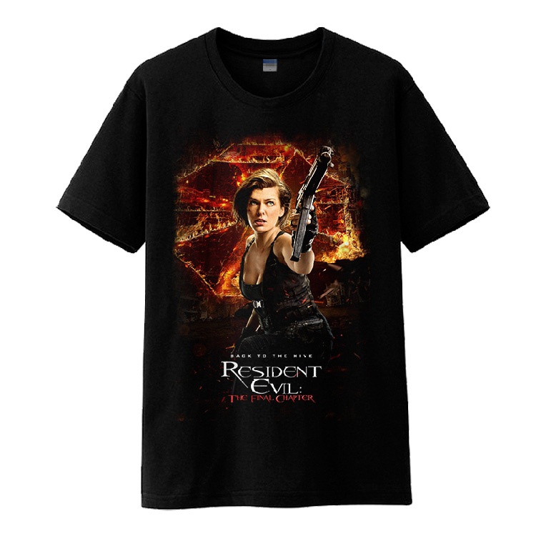 Mens Casual 2017 Movie Resident Evil 6 The Final Chapter Alice Claire Redfield Christian Black Short Sleeve Tee Shirts T-shirts