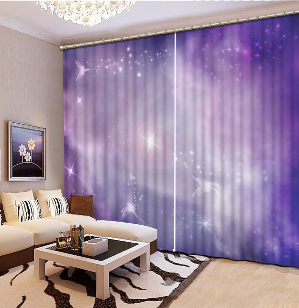 New Fashion 3d Curtains Purple Sky Angel Home Decoration Living Room Natural Art China