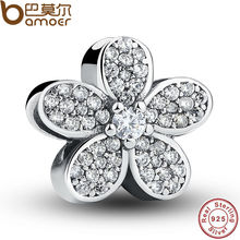 925 Sterling Silver Dazzling Daisy Plant Charm Fit BME Bracelet With Clear Cubic Zirconia  DIY Accessories Jewelry PAS068