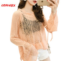 Hollow sweater blouse female retro hole fishnet sweater summer short Flounced loose thin section head chic Tops Women's ODFVEBX