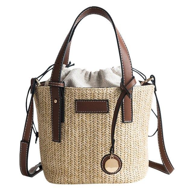 brixini.com - Handmade Vintage Round Straw Beach Bag