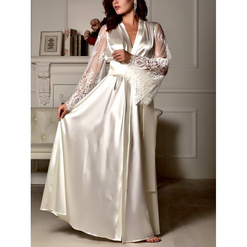 d9a44b666 V-pescoço De Cetim De Seda Robe Vestido Sleepwear Mulheres Sexy Cinto Rendas  Vestido Camisola Sleepwear Dividir Black White Plus Size Camisola