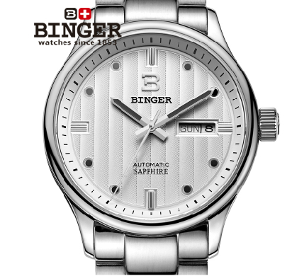 2017 Stainless Steel Luxury White Men's Clock Fashion Luminous Sports Watch 100M Waterproof Noctilucent Watches Binger рюкзак dakine snow 8100615 16l 8100615 dk baker 16l taiga