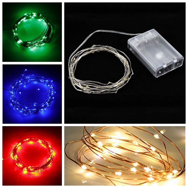 2M/3M/4M/5M/10M 20/30/40/50/100 LED Copper Wire String Fairy Light AA Battery Holiday Party Wedding Christmas DIY Decoration 3w 40 led blue light decoration string light for christmas wedding party 3 x aa