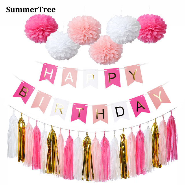 Happy Birthday Banner Pink White Gold Tissue Paper Tassel Garland