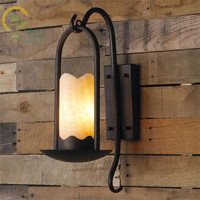 American Country Retro Marble Led Wall Lamps Nordic Background Loft Wall Lights Creative Garden Aisle Stairs