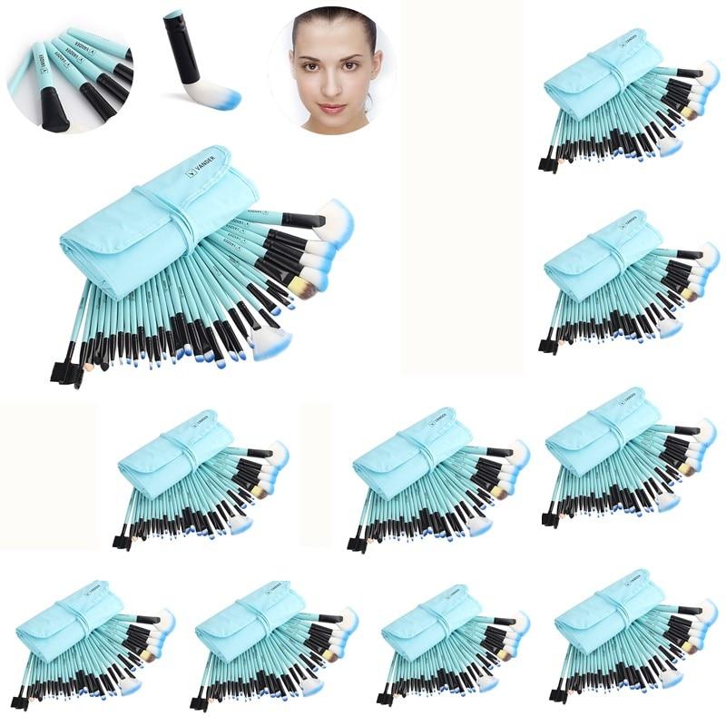 цена на Professional 10sets/Lot 32pcs Wholesale Makeup Brush Cosmetic Kits Brushes Foundation Powder Blusher Eyeliner pincel maquiagem