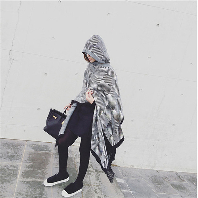 Bandanas 2016 New Branco Preto Moda Cashmere Scarf Mulheres Cachecóis Inverno Oversize Malha Hijab Pashmina Xale Poncho Capa Com Capuz