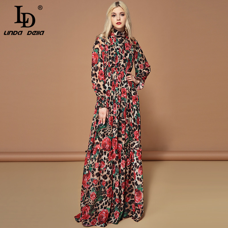 LD LINDA DELLA Fashion Runway Long Sleeve Maxi Dresses Women's Elegant Party Rose Floral Leopard Print Long Dress Holiday Dress-in Dresses from Women's Clothing