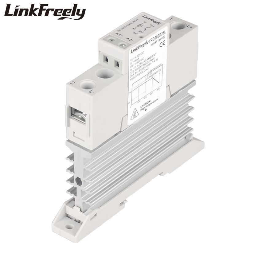 TRD060D25L Small Heat Sink SSR Solid State Relay Din Rail DC 25A 1-60VDC Output 5V 12V 24V Input Smart Control Board