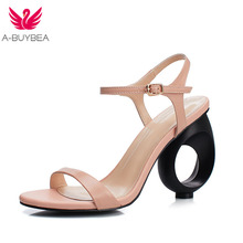 A-BUYBEA Concise Real Leather Women Sandals Strange Style High Heels Summer Shoes Fashion Buckle Casual Daily