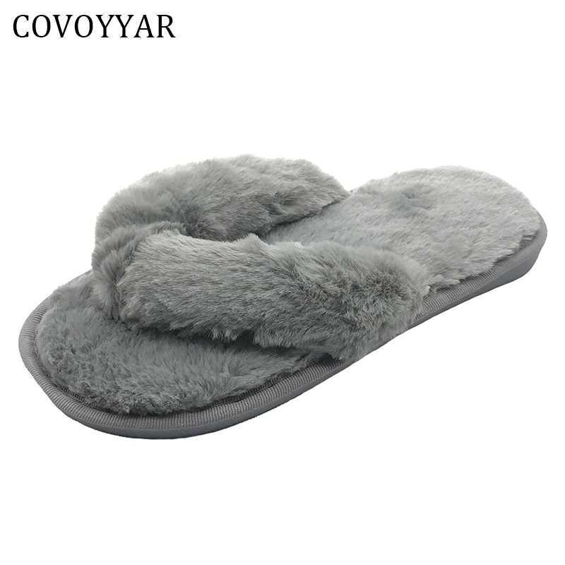 COVOYYAR Flip Flops Indoor Home Slippers 2018 Winter Fashion Comfort Fur House Women Flat Shoes Slip On Lady Shoes WSL506 covoyyar 2018 fringe women sandals vintage tassel lady flip flops summer back zip flat women shoes plus size 40 wss765