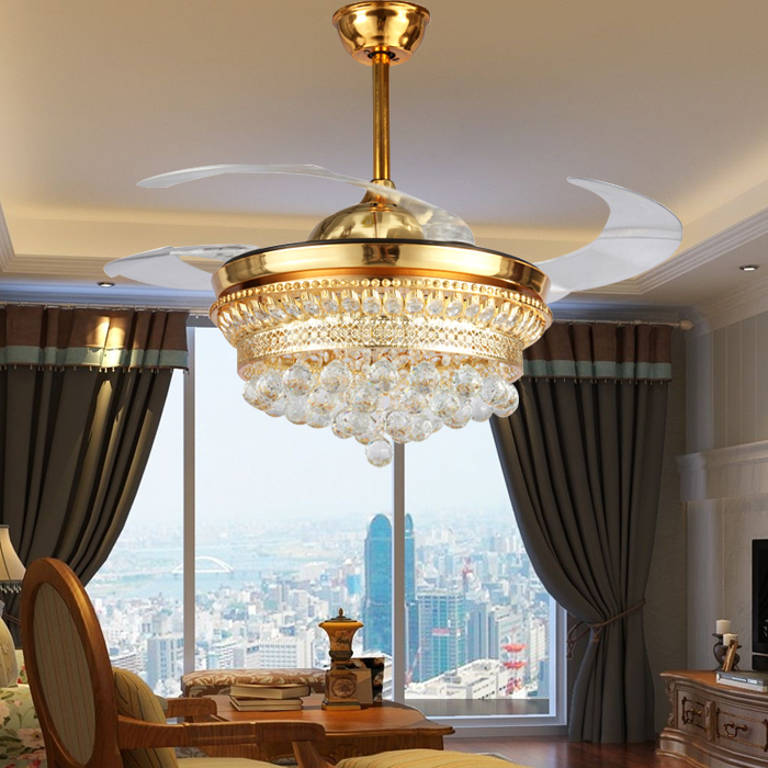 52 Inch Modern Led <font><b>Ceiling</b></font> Light Fans Crystal Folding <font><b>Ceiling</b></font> Fans With Lights Remote Control Bedroom Decoration Home Fan Lamp