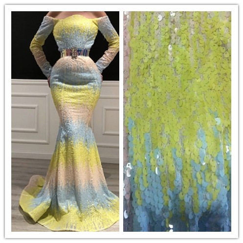 top grade tulle lace with sequins JIANXI C 2203 new arrival French sequins lace fabric embroidery