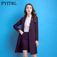 PYJTRL Autumn Winter Office Uniform Designs Women Fashion Two Pcs Business Occupation Formal Skirt Trouser Windbreaker