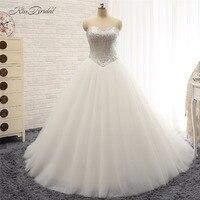 Çarpıcı Moda Balo Düğün Dresess 2018 Sequins Sevgiliye Boyun Çizgisi Organze Gelin Kıyafeti vestido novia vintage