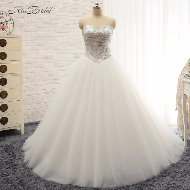 stunning fashion ball gown wedding dresess 2018 sequins sweetheart